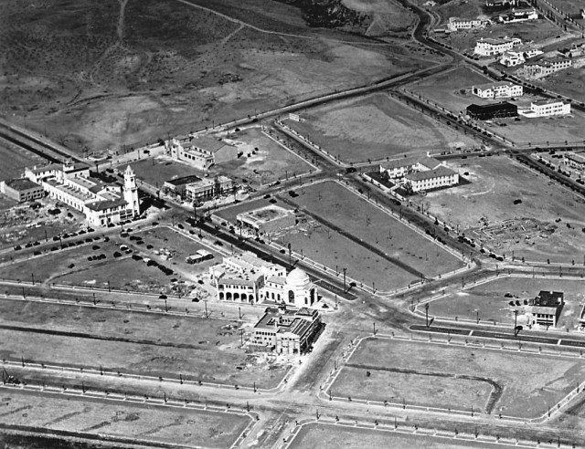 Aerial view of Westwood village, Los Angeles, circa 1929