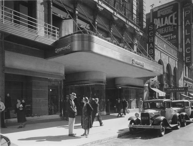 Desmond's department store on Broadway, next to Palace Theatre and Schaber's cafeteria in downtown LA, circa 1929
