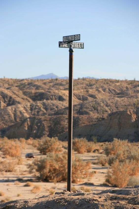 Hollywood and Vine street sign in the Anza-Borrego Desert State Park