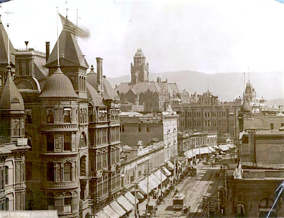 Spring St and 2nd St, downtown Los Angeles, circa 1895. The Hollenbeck Hotel is to the left