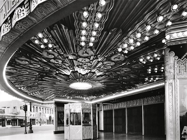 Ornate overhang of the Wiltern Theater entrance, corner of Western Ave and Wilshire Blvd, Los Angeles, 1931