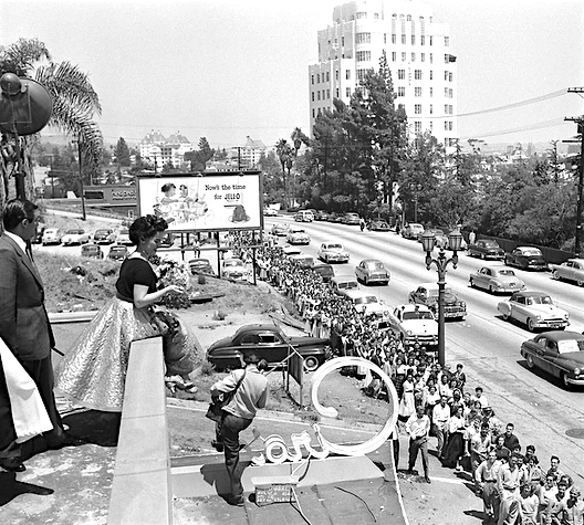 Joni James greet crowds at Ciro's, Sunset Strip, 1953