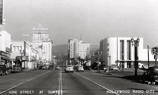 Looking north up Vine Street from Sunset Boulevard, Hollywood, 1948