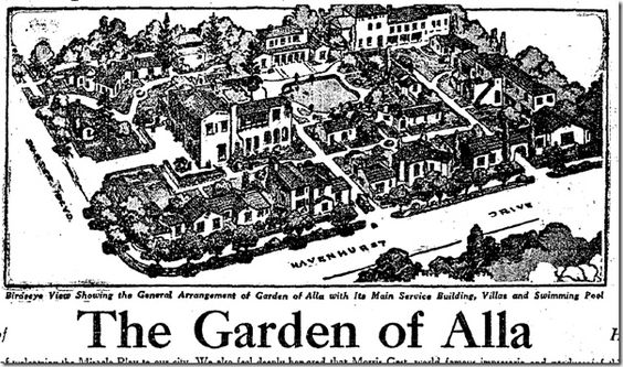 """The Garden of Alla"" Hotel, not long after it opened (and before it acquired the final ""h"")"