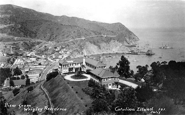 Wrigley mansion overlooking the resort town of Avalon on Santa Catalina Island (circa 1919)