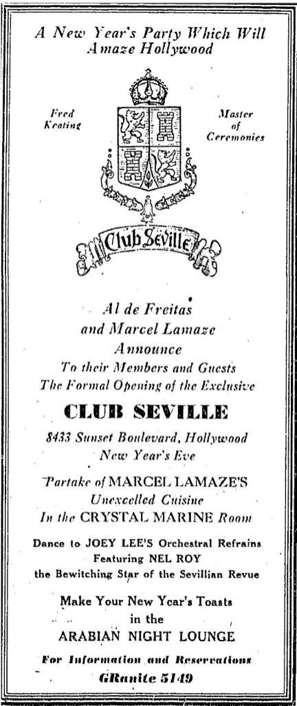 Advertisement for opening of Club Seville, Sunset Blvd, New Year's Eve 1935