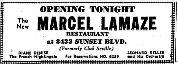 Advertisment for the opening of Marcel Lamaze Restaurant 8433 Sunset Blvd, 1938