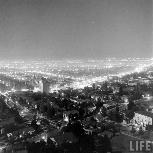 The Sunset Strip at dusk, Los Angeles, 1938