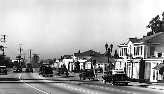 Sunset Strip, facing west, Los Angeles, 1939