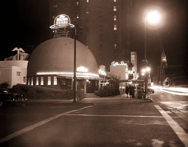 The original Brown Derby on Wilshire Blvd across the street from the Ambassador Hotel, 1957