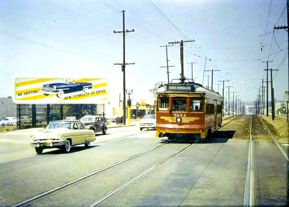 inal day of streetcar service along Santa Monica Blvd east of Fairfax Ave, May 31, 1953