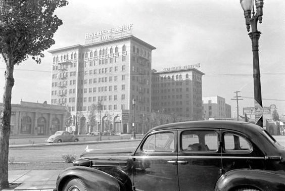 Beverly Wilshire Hotel with Brown Derby in the background, circa late 1930s
