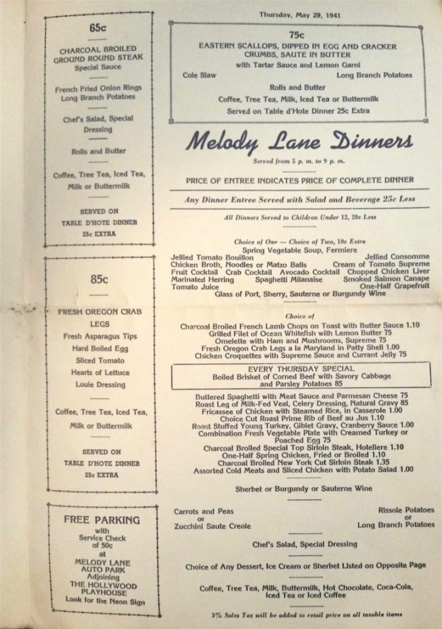 Melody Lane restaurant menu, Los Angeles, 1942