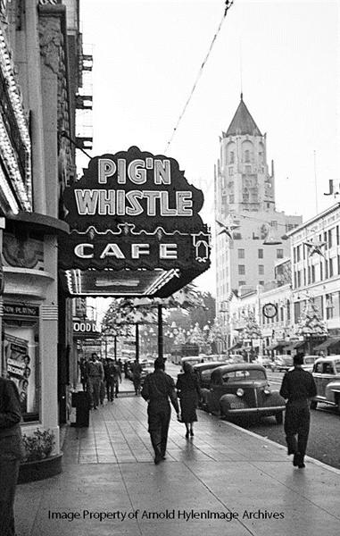 Pig N' Whistle Cafe, Hollywood Boulevard, December 1948