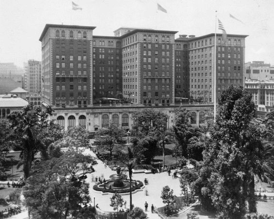 Pershing Square and Biltmore Hotel, downtown Los Angeles, circa 1920s