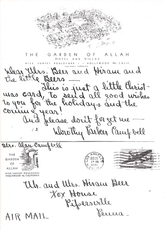 Postcard Dorothy Parker sent from the Garden of Allah Hotel, Los Angeles December 20th, 1945