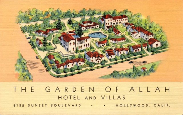 Vintage postcard of the Garden of Allah Hotel, 8152 Sunset Blvd, Los Angeles, circa 1930s