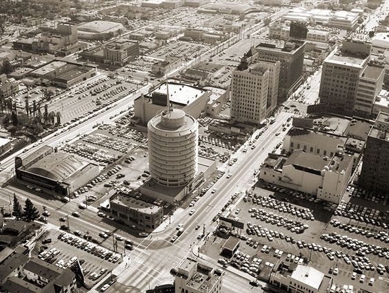 Aerial view of the Capital Records building near Hollywood and Vine, 1956