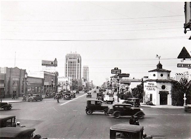 Corner Wilshire Blvd and La Brea Ave, Los Angeles, December 1932