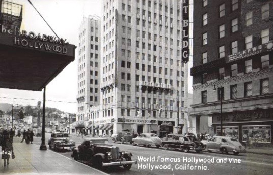 Hollywood and Vine corner looking north from Broadway department store, circa 1949