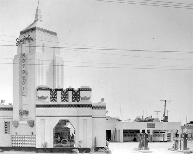Specification Motor Oil System Service Station on the southwest corner of Washington and 8th St, Los Angeles, circa 1930s