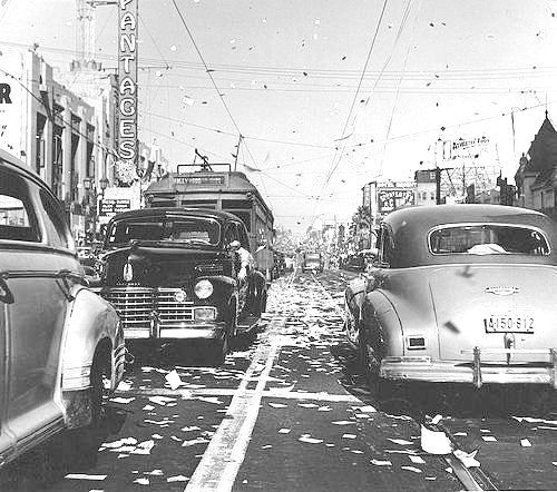 VJ Day on Hollywood Boulevard, August 14, 1945