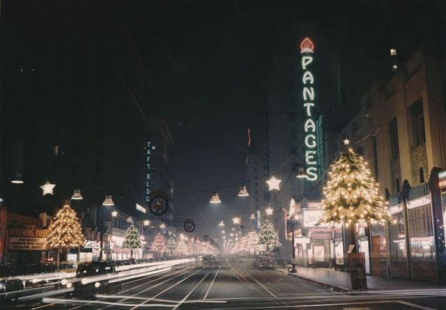 Hollywood Boulevard at night during Christmas, circa 1950