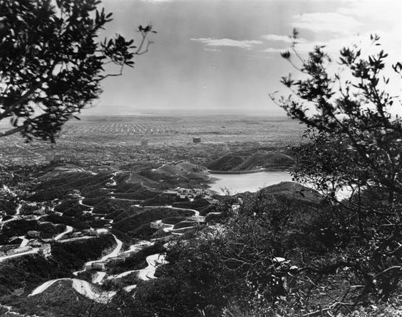 View of Beachwood Canyon, probably taken under the Hollywoodland sign, circa 1925