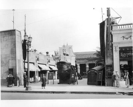 """Grauman's Egyptian Theater with promotional sailing ship for """"The Black Pirate,"""" 1926"""
