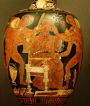 Aegisthus murdered by Orestes and Pylades. Red...