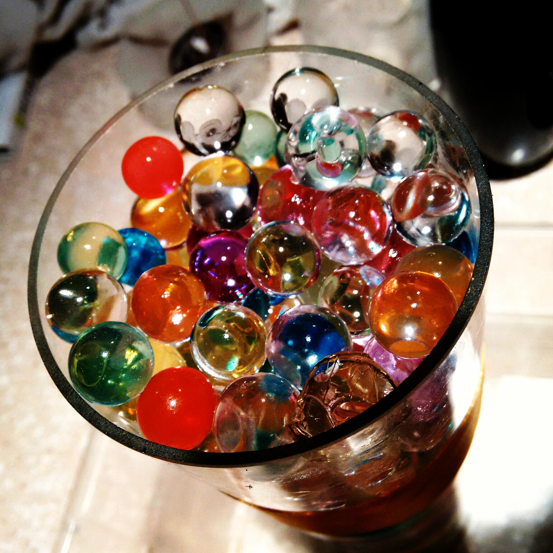 Glass of marbles