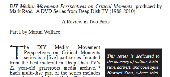 "Review of ""DIY Media: Movement Perspectives on Critical Moments"""