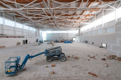 The field house will contain an 80m sprint track (on the right), and both wood and synthetic flooring for different sports.