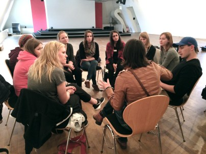 A joint class session at the Jewish Museum in Berlin with students from the University of Osnabrück. Photo provided by Helga Thorson