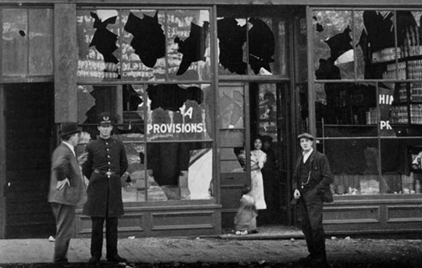 anti-asian racism led to riots, pictured is smashed windows in Vancouver's Chinatown.