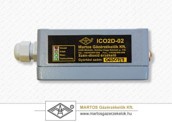 Az ICO2D-02 típusú telepített széndioxid érzékelő oldalnézete
