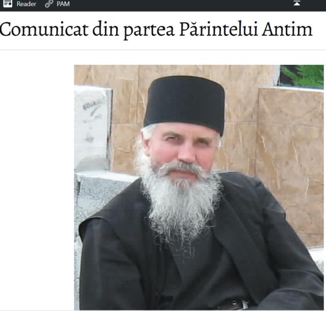 Părintele Antim Gâdioi aderă fără rezervă la doctrina adunării de la Roman, din 2018, întrerupând comuniunea cu aproape toată Ortodoxia