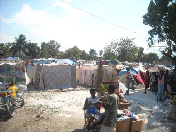 A tent city in Port-au-Prince Haiti