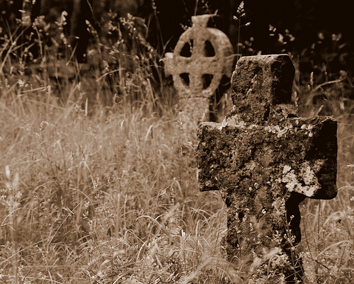 tombstone sepia celtic cross
