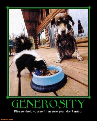 Generosity with a dog and skunk