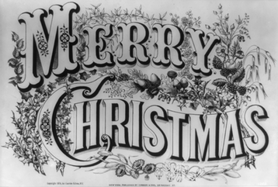 vintage merry christmas graphic