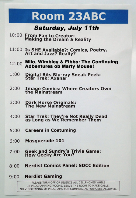 sdcc schedule marty mouse house
