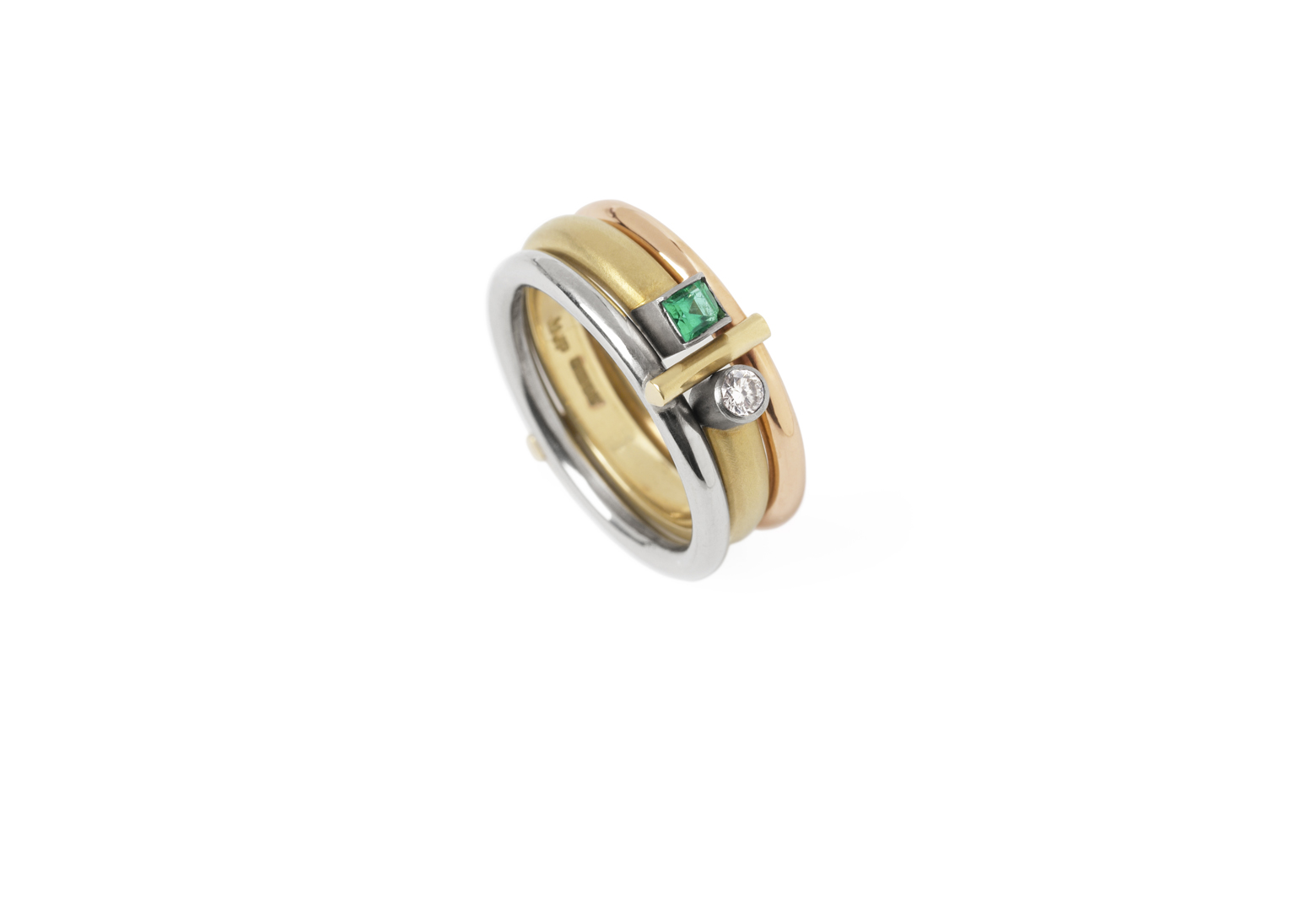 Preva Interlock Emerald Ring Set