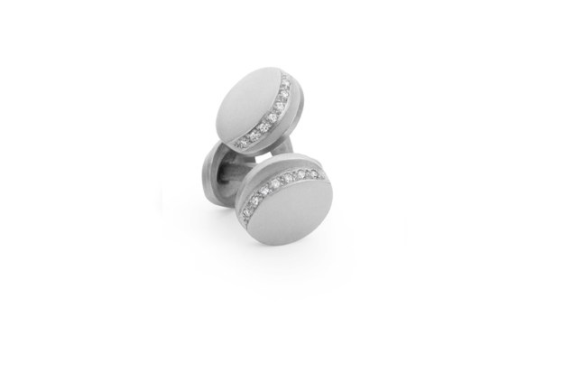 Step Round Diamond Cufflinks