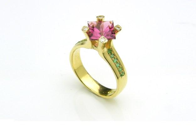 Flare Tourmaline & Emerald Ring