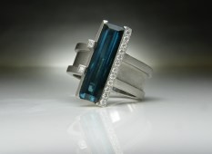 Blue Tourmaline & Diamond Ring