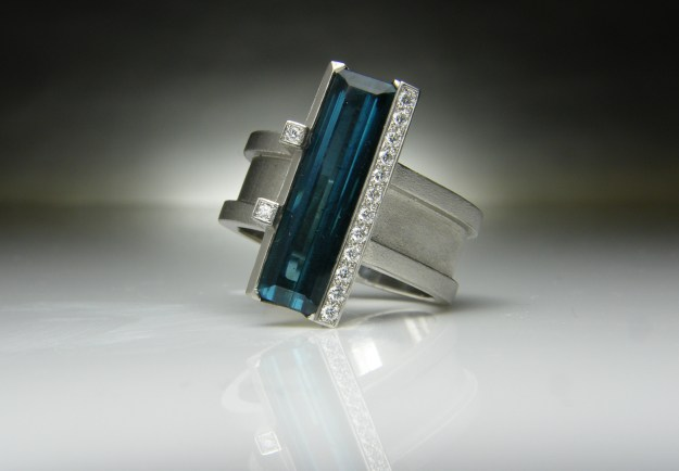 Blue Tourmaline & Diamond Ring