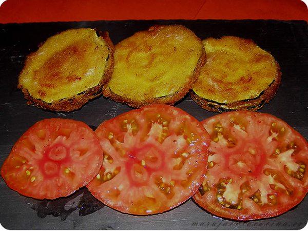Calabacines empanados rellenos