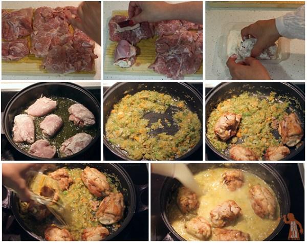 Paso a paso de los contramuslos de pollo rellenos de jamón de pato y queso de cabra