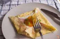 Más fotos de las crêpes de huevo, jamón y queso